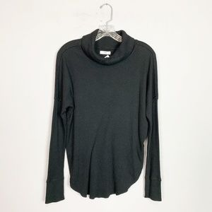 Aritzia TNA | ribbed knit cowl neck thermal black